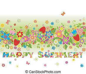 virágos, nyár, (seamless, borde, boldog