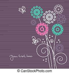 virágos, pillangók, karikatúra, háttér