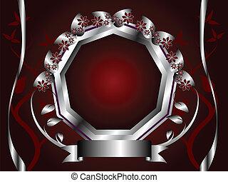 virágos, piros háttér, sablon, ezüst