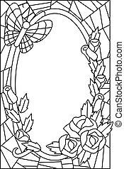 virágos, pohár, foltos, színezés, oldal