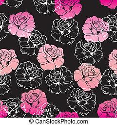 virágos, rózsaszínű, vektor, fekete, tapéta