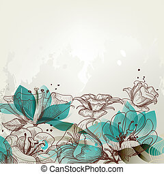 virágos, retro, háttér