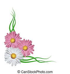 virágos, sarok, vignette., vektor, ábra