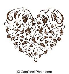virágos, szív alakzat, tervezés, -e
