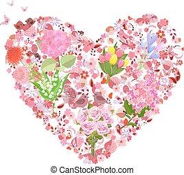 virágos, szív, bájos, tervezés, -e