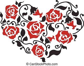 virágos, szív, elvont