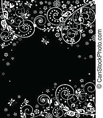 virágos, szüret, (black, transzparens, wh