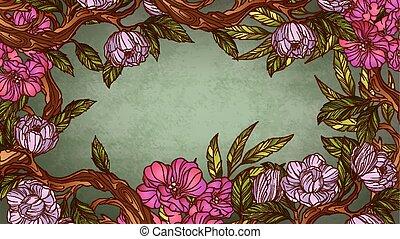 virágos, szüret, keret, színes