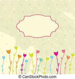 virágos, szüret, keret, vektor, háttér