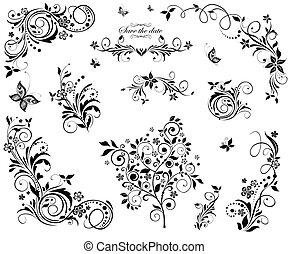 virágos, szüret, tervezés, fekete, fehér