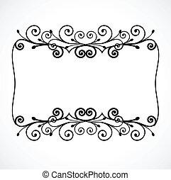 virágos, szüret, vektor, díszítés, frame.