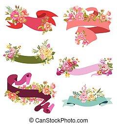 virágos, szalag, szalagcímek, -, helyett, esküvő, kártya, scrapbook, és, tervezés, alatt, vektor