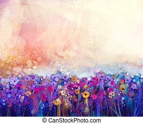 virágos, vízfestmény, absztrakt festészet