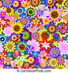 virágos, (vector), motívum, elvont, seamless