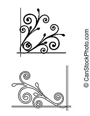 virágos, vektor, corners., két