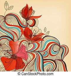 virágos, vektor, háttér