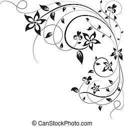 virágos, vektor, tervezés, elem