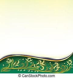 virágos, zöld absztrahál, díszítés, háttér