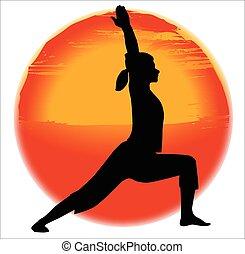 virabhadra, pose, ioga
