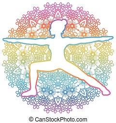 virabhadrasana, guerriero, donne, 2, yoga, pose., silhouette.