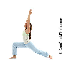 virabhadrasana warrior pose #2 - sporty girl practicing ...