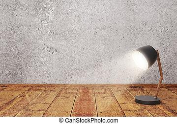 virado, lâmpada