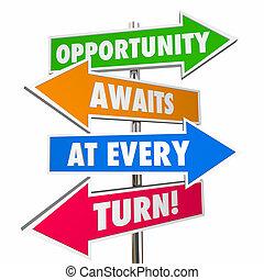 virage, attitude, chaque, flèche, signes, awaits, occasion,...