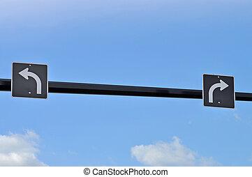virage, droit, gauche, panneaux signalisations