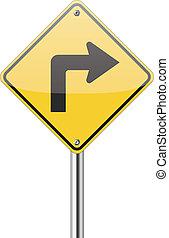 virage, droit, panneau de signalisation
