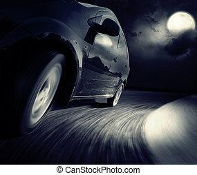 virage, noir, côté, voiture, vue