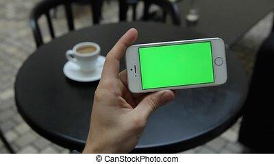virages, écran, téléphone, infographic, blanc vert, page