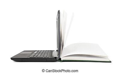 virages, ordinateur portable, livre, ouvert