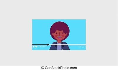 viral, blogger, contenu, américain, afro, parler, homme