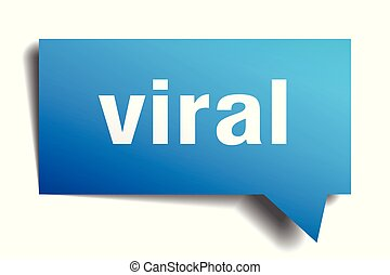 viral blue 3d speech bubble - viral blue 3d square isolated...