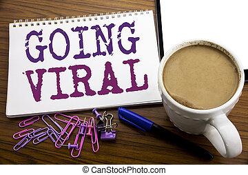 viral, café, concept, viral., business, bois, texte, projection, écrit, écriture, note, sous-titre, stylo, papier, fond, social, aller, main, inspiration