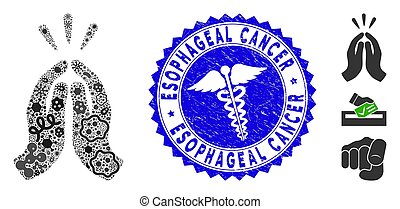 Outbreak mosaic thank you icon and rounded distressed stamp watermark with Esophageal Cancer text and medicine icon.