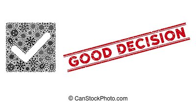 Viral Collage Valid Tick Icon and Distress Good Decision Stamp with Lines