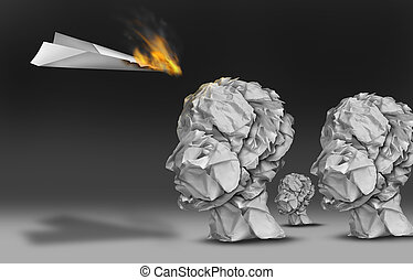Viral communication marketing and propoganda concept as a paper plane burning in flames as an audience group of human heads made of crumpled office papers.