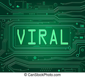 Abstract style illustration depicting printed circuit board components with a viral concept.