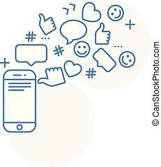 viral, concept, comments, -, actions, contenu, smm, ligne,...