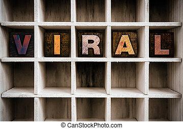 viral, concept, letterpress, bois, tiroir, type