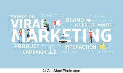 viral, concept., mercadotecnia