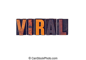 viral, concept, type, isolé, letterpress