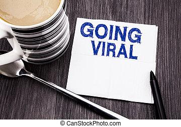 viral, concept, viral., bureau, mouchoir, coffee., bois, texte, sommet, business, arrière-plan., écrit, papier soie, social, marqueur, aller, vue., bois, projection, manuscrit