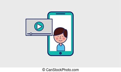 viral content boy in smartphone player screen animation hd