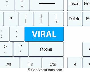 Viral cyan blue keyboard button