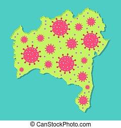 Viral epidemic in Bahia - Map of Bahia with virus. ...