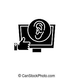 Viral marketing black icon, vector sign on isolated background. Viral marketing concept symbol, illustration