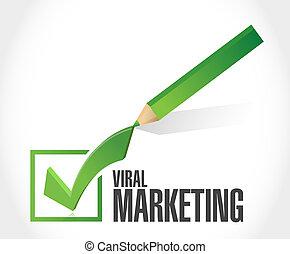 viral marketing checkmark sign concept