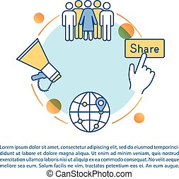 Viral marketing plan concept icon with text. Loyal customers...